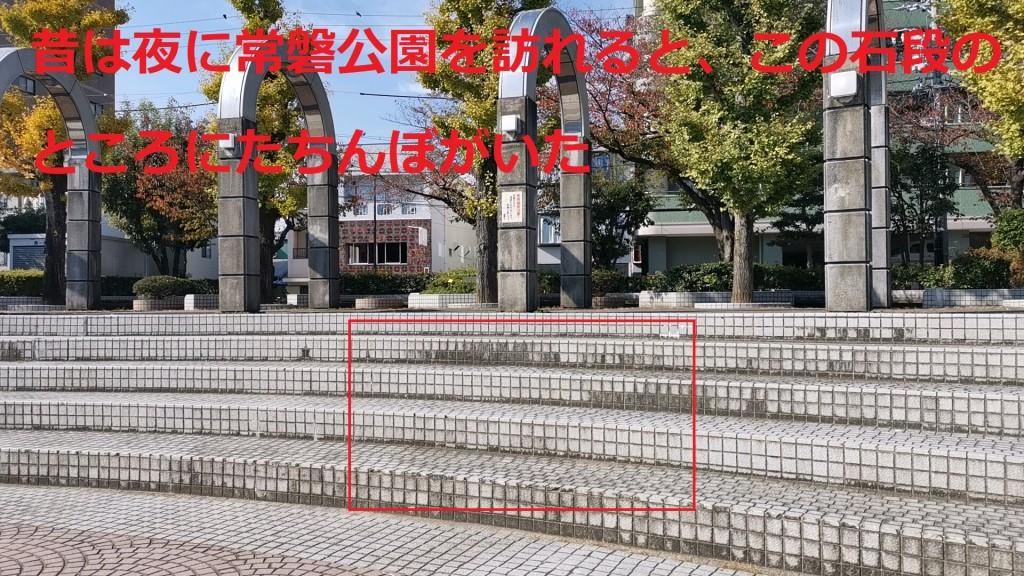 たちんぼが座っていた常盤公園の石段