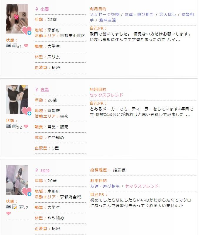 京都で相手を探す出会い系サイトの女の子達