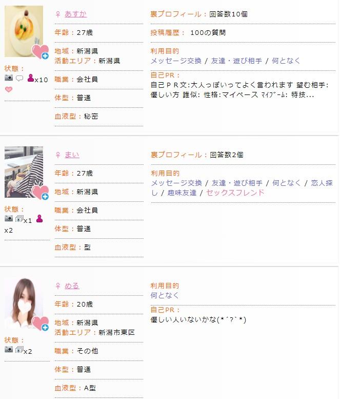 新潟で出会い系サイトに登録して活動する女の子達