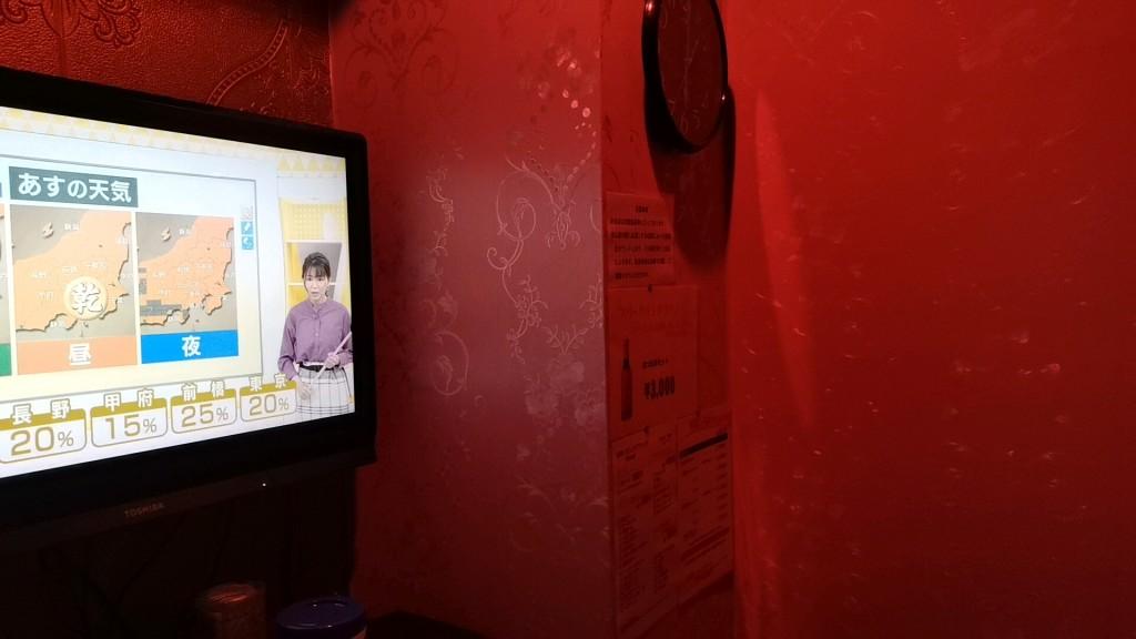 ラブフレンドの個室のテレビ