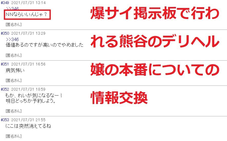 爆サイ掲示板に書き込まれる熊谷のデリヘル嬢の本番情報