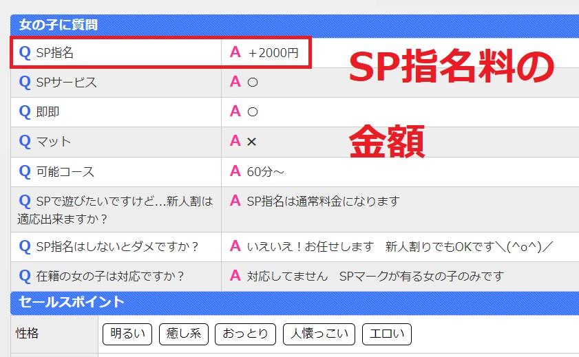 鎌倉御殿のSP指名料の金額